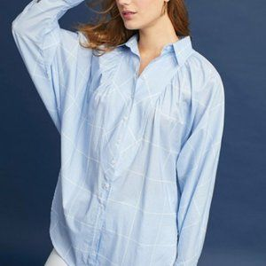 Anthropologie Checked Button-Up Tunic - Sz S - NEW